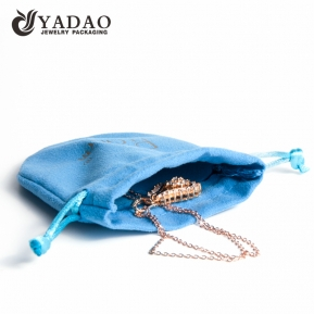 China Blue mini double velvet jewelry pouch oval shape with drawstring closure factory