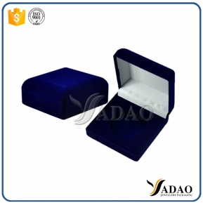 China Blue simple velvet boxes for earrings,rings,necklace,bracelet,pendant,bangle accept customization factory