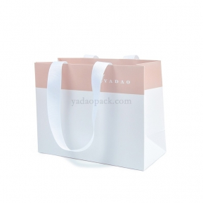 China CMYK printing custom size/color/logo  shopping/gift/jewelry packaging paper bag with ribbon handle factory