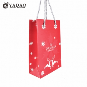 China CMYK printing paper bag Christmas shopping bag Christmas gift packaging bag factory