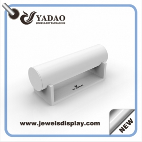 China China factory MDF wrapped with white  PU leather jewelry displays for shop counter and window showcase and exhibitor bangle stand factory