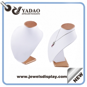 China China supplier white leather pu necklace bust display for jewelry store with your logo factory