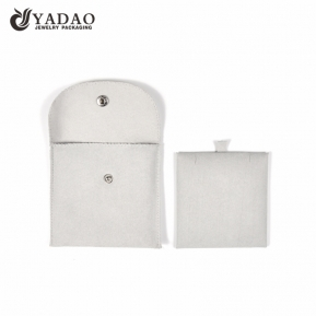 China Chinese direct manufacturer customize snap closure microfiber pouch jewelry packaging pouch bag with pendant pad inside factory