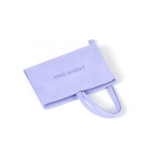 China Custom Bright Purple Jewelry Wearable Microfiber Pouch With Flap factory