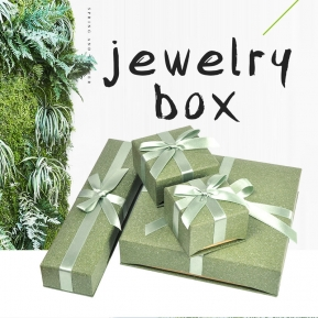 China Custom Natural Green Paper Box for Jewelry Packaging with Separated Lid and Ribbon Bow Tie factory