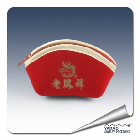 China Custom cute red suede jewelry pouches,suede jewelry bags, suede pouches  with zipper wholesale factory