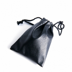 China Custom drawstring black pu leather bag jewelry packaging pouch bag leather pouch factory