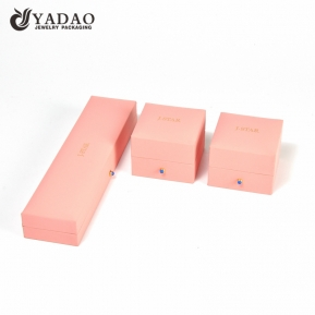 China Custom fashion logo printed jewelry box with leatherette paper finish for ring bracelet earing pendant factory