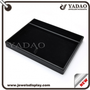 China Custom handmade pu leather cover stackable jewelry set display tray factory