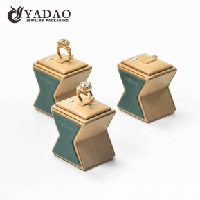 China Custom made OEM/ODM solid wood ring display with customized shape covered with good microfiber for jewelry showcase and store. factory