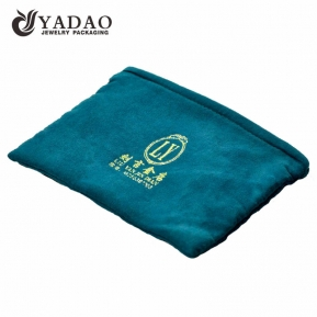 China Custom made velvet pouch with zipper and hot stamping gold logo. factory