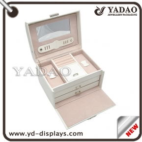China Custom multifunction  jewelry gift boxes with fashion white leather factory