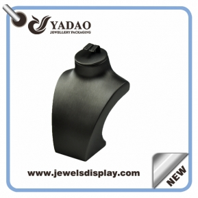 China Custom printing logo Luxury metalic black leather necklace busts ,necklace display stand ,necklace display figure ,leather neck form with earring slot on the top factory
