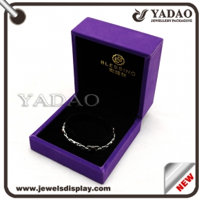 China Custom purple jewelry gift boxes with soft touch velvet Multi-function packing box factory