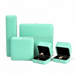 China Custom wholesale leatherette tiffany blue fine jewelry packaging ring/earring/pendant/bracelet boxes with logo factory