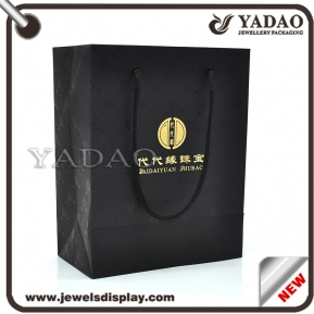 China Customized black paper jewelry bag for jewelry store go shopping bag factory