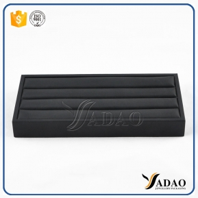 China Customized black pu leather wood ring display tray made in China factory