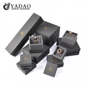 China Custom velvet inside the gray box jewelry box with separate lid factory