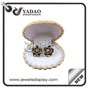 China Cute sea shell shape jewelry box with customized insert suitable for ring, necklace and earring. factory