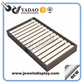 China Deisgnable high-end custom handmade free sample free logo pu leather cover stackable jewelry display tray bracelet tray factory