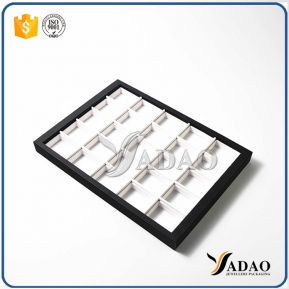 China Different optional simple color size customize display tray with square space mdf leather making for jewelery factory