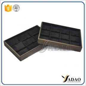 China Durable Stackable Wholesale Custom High Quality  luxury handmade PU leather velvet travel jewelry display tray  earring wood tray factory