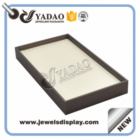 China Elegant leather any color wooden display tray for necklace and long chain factory