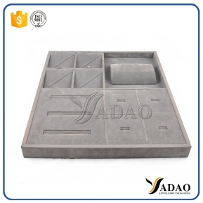 China Factory price customize free logo wholesale OEM ODM ring wooden covered with linen/leather jewelry display tray frame material factory