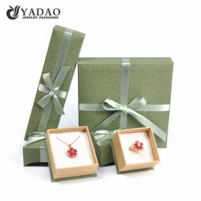 China Fashion natural classy ribbon paper box jewelry box with flap lid factory