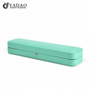 China Green jewellery ring box glossy leather finish with soft velvet lining inside factory