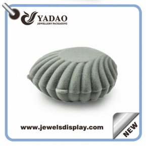 China Grey ring package velvet ring box like a shell flocking ring box custom made downy engagement ring box factory