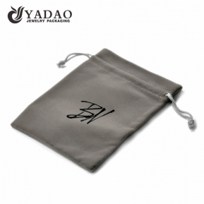 China Grey velvet pouch with drawstring and customized size and silk printing neat logo suitable for jewelry and watch package. factory