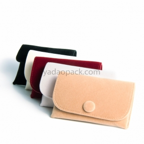 China Handmade  Queen style squre colorful velvet pouch with button for jewelry gift packaging factory