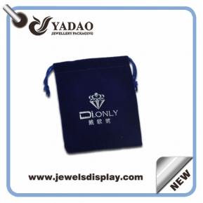 China Handmade thick dark blue jewelry gift bags ,jewelry packing bags ,velvet jewelry bags with silver hot stamping with custom logo and samples factory