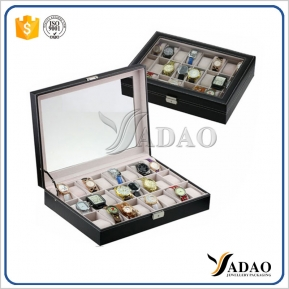 China High-end wood watch display stand,watch display tray Cheap jewelry display Leather and Velvet Watch Display Tray factory