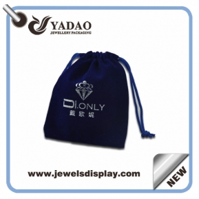 China High quality Dark blue Jewelry velvet pouch bags with blue cord for jewelry packing factory