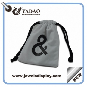 China High quality Thick velvet jewelry pouches bags ,white jewelry pouches ,velvet jewelry gift pouches for jewelry packing with custom logo factory