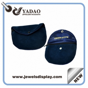 China High quality blue velvet pouch jewelry pouch with zipper and your logo made in China factory