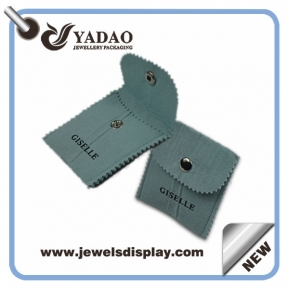 China High quality gray velvet pouches jewelry bag with bottom and your logo made in China factory