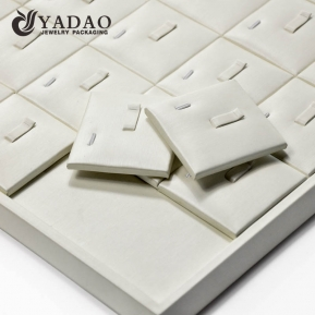 China High quality handmade MDF ring display tray covered with soft leatherette with free logo printing service. factory