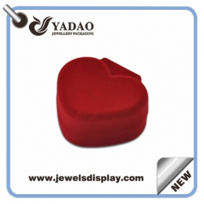 China High quality red flocked box in heart shape for jewellery necklace packaging box factory