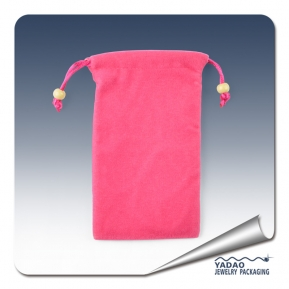 China High quality soft and Pink fine jewelry suede pouch bag with drawstring for jewelry store factory