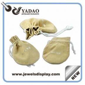 China Hot selling new velvet pouch for ring/necklace/pandent with your logo and string factory