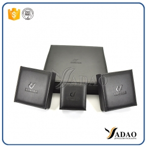 China Luxury black handmade high-end customized  wholesale leather box  for ring/necklace/pendant/necklace factory