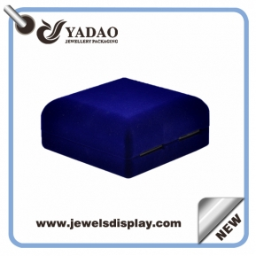 China Luxury blue custom jewelry gift boxes with gold hot stamping logo and soft touch velvet insert packing box factory