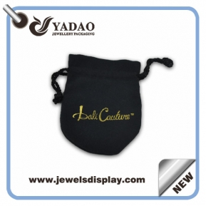 China Most popular soft suede jewelry pouch bag with gold stamped logo and black cord factory