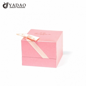 China Pink jewellery ring box for girls with ribbon bowknot factory