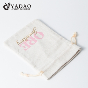China Popular customized linen pouch design for high end fine jewelry package with logo printed. factory