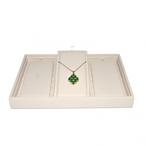 จีน Pu Leather Cover Stackable Pendant Display Tray Jewelry Showcase Pendant Display โรงงาน