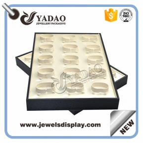 China Rectangle long large leatherette jewelry display tray for bangle with C ring flat surface wooden factory